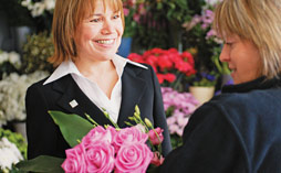 Two woman in a flower shop