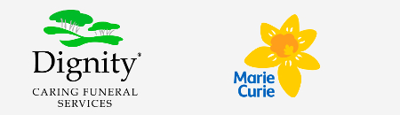 Dignity Caring Funeral Services and Marie Curie Cancer Care logos.