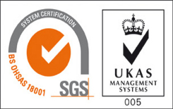 BS OHSAS 18001 and UKAS Management Systems logos